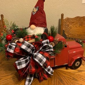 Handcrafted Christmas Gnome with Truck decor